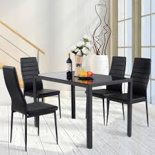 Shop Costway 5 Piece Kitchen Dining Set Glass Metal Table And 4