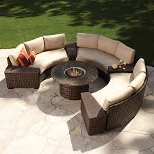 contempo curved sectional and fire pit set from lloyd flanders