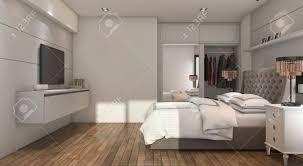 3d Rendering Schöne Luxus Schlafzimmer Mit Tv Und Schrank