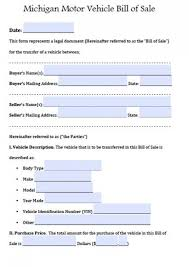 Printable Automobile Bill Of Sale Free Michigan Motor Vehicle Bill Of Sale Form Pdf Word