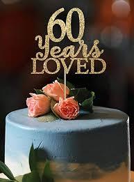 Amazoncom Kiskistonite Happy 60th Birthday Cake Topper Gold