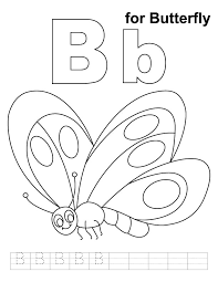 Small Picture B for butterfly coloring page with handwriting practice Download