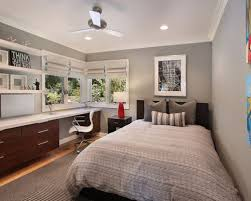Trendy bedroom photo in Orange County with gray walls