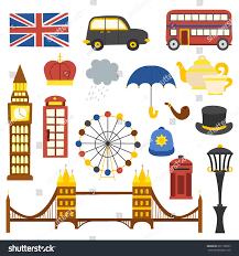 vector cartoon ilration with isolated london icons travel to united kingdom concept cartoon english