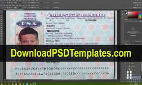 Us Passport Template Psd Usa Passport Psd Template New Editable Blank Fake File