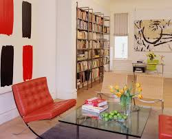 ... Living Room Contemporary with abstract art Barcelona Chair. Image by:  Fougeron Architecture FAIA