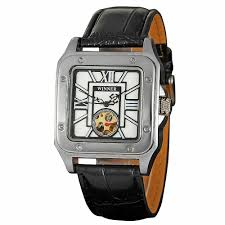 online get cheap watch men square skeleton aliexpress com classic automatic mechanical men wristwatch leather band hollowed dial self wind square retro rome case skeleton watch box