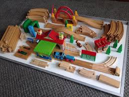 brio wooden train set with compatible engines and wagons over 120 pieces