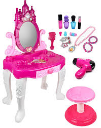 com kid play pretend play kids vanity table and chair beauty play set with fashion makeup accessories for girls toys