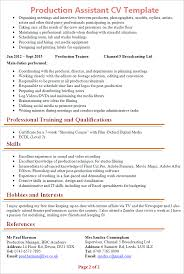 production assistant cv template tips and cv plaza production assistant cv template 2