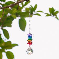 H D Chakra Kristall Sonne Fänger Kronleuchter Kristalle Ball Prism Anhänger Regenbogen Maker Hängen Chakra Cascade Suncatcher 24 Cm Spargut