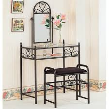 black glass vanity set with stool  stealasofa furniture outlet