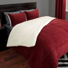 lavish home 3 piece burdy sherpa fleece king comforter set