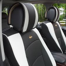fh group car seat covers pu leather front buckets black white w black steering cover