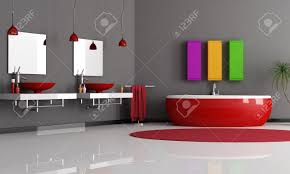 modern black and red bathroom with sink and bathtub stock photo 8294576