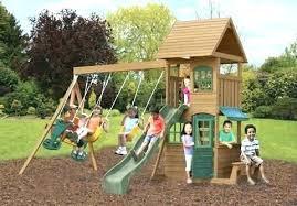 wood wooden playset kits diy swing set used outdoor