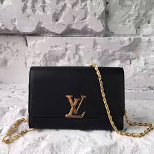 louis vuitton lv chain louise gm handbag real leather shoulder bag black m51631