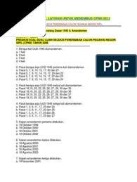 Download soal uas ipa kelas 7 8 9 kurikulum 2006 2013. Soal Cpns Mata Ujian Undang Undang Dasar 1945 Amandemen Pdf