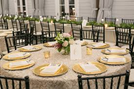 Reception Table Set Up Gold Charger Wedding Reception Table Setup Foxhall