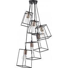 tower 6 light ceiling pendant in matt black and copper finish