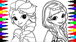 coloring pages disney frozen cartoon elsa and anna coloring book videos for children learning colors
