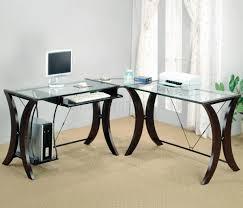 wood and glass desk l shaped