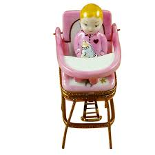 Baby high chair - pink Limoges Boxes and Figurines