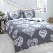 details about brushed cotton flannelette skandi hearts grey super king size duvet cover set