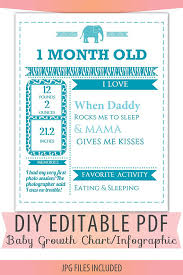 Fuscopress Diy Editable Pdf Monthly Growth Chart Baby Boy