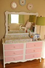vintage baby changing table with wall mirror painted with white color and pink drawer plus topper for dresser with pad ideas