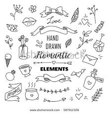 stock vector big set of romantic style hand drawn elements with banners badges flowers leaves arrows 597912326 flower doodle stock images, royalty free images & vectors on arrow templates cute big