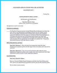 Resume Of Data Entry Operator Resume For Study