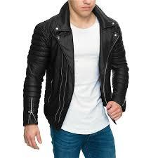 mens designer pu leather jacket motorbiker turndown collar zippers slim fit coats jackets black leather er jacket mens black coat from gucooldesigner