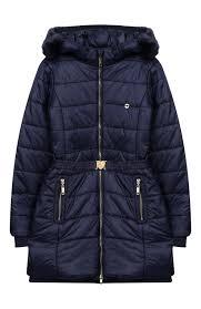 <b>Утепленное пальто</b> на молнии с <b>капюшоном</b> TWINSET синего ...
