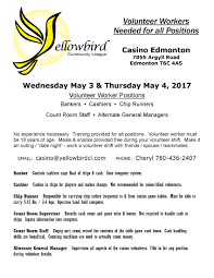 casino volunteers needed yellowbird east community league casino volunteers needed 2017