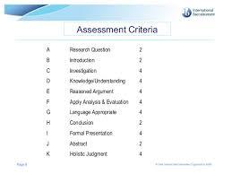 extended essay assessment criteria international baccalaureate organization 2009 8 assessment criteria a research question