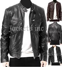 mens black brown real leather jacket vintage slim fit retro genuine new xs 3xl