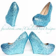 Light Blue Glitter Heels Tiffany Blue Glitter Wedges Aqua Light Blue Heels Robins Egg Wedding Shoes