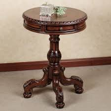elegant room decor design idea features antique round end table with drawer clawfoot legs