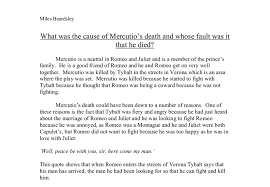 what was the cause of mercutio s death and whose fault was it that  document image preview