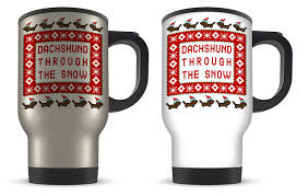 14oz dachshund through the snow funny pixel novelty gift aluminium travel mug