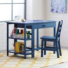 navy blue desk. Lipper Writing Workstation Desk And Chair - Navy Blue