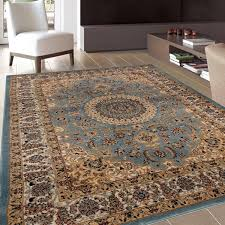 Traditional Oriental Medallion Design Blue Area Rug 7 10 x 10 2