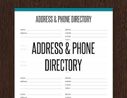 contact directory template address phone directory fillable printable