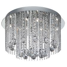 searchlight electric beatrix 8088 8cc chrome with crystal detail semi flush ceiling light