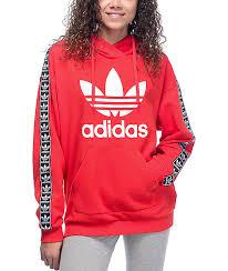 adidas hoodie womens. adidas jacquard sleeve trefoil red womens hoodie d