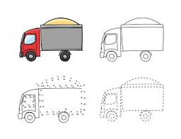truck drawing outline. Wonderful Outline Trucks With Sand For Kids Drawing In Hand Drawn Outline Illustration  Child Educational Game Page Intended Truck Drawing Outline