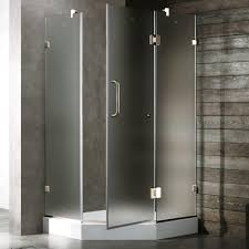 frosted glass shower enclosure. Frameless Neo-Angle Shower Enclosure In Chrome Frosted Glass