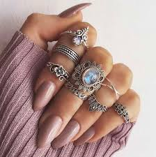 <b>High Quality 8Pcs</b> Vintage Love Lotus Sun Opal Rings Crystal Ring ...