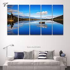 5 panel canvas wall art blue lake view new zealand scenery large regarding new zealand canvas